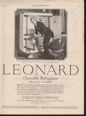 1927 Leonard Refrigerator Grand Rapids Milk Cat Dish Ad12779