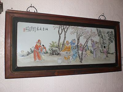 X-Large Hand Painted Chinese Porculine Plaque - Signed And  Framed