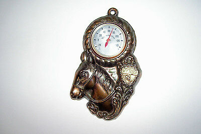 Metal Horse Plaque Wyoming Thermometer