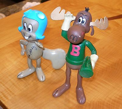 Original Vintage Rocky And Bullwinkle Toy Figures Large And Rare- Signed??!!