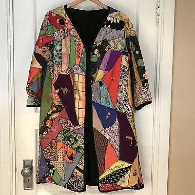 Vintage 1933 Signed Crazy Quilt Robe Jacket Incredible Cross Stitching MUST SEE