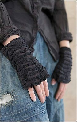 Magnolia Pearl Cotton Tulle & Lace Stravinsky Midnight Cuffs with Antique Snaps