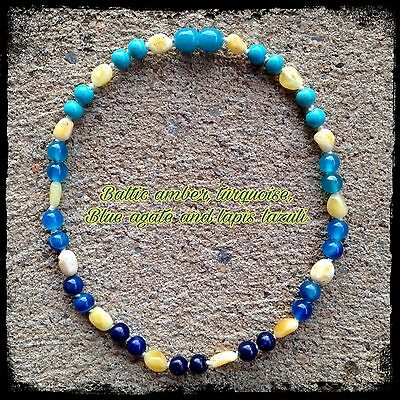 Baby necklace with butter Baltic amber, lapis lazuli, blue agate and turquoise