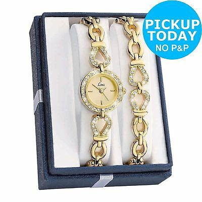 Limit Ladies' Gold Plated Stone Set Watch and Bracelet Set -From Argos on ebay