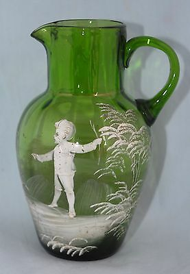 Antique 19th C Green MARY GREGORY Hand Blown Jug Ground Pontil