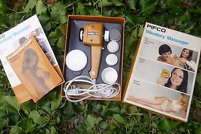 Pifco vibratory massager no 1556 1970s with manual & 5 attachments. Boxed in VGC