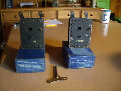2 X Meccano No 1 Clockwork Motors with Boxes One Key