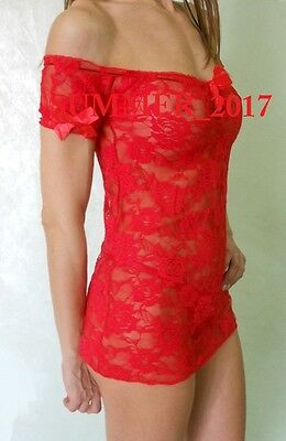 SEXY BABYDOLL IN PIZZO  e 1 PERIZOMA G-string INTIMO DONNA ROSSO 115