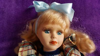Very Pretty Blonde Porcelain Doll - Country Style Blue & Red Check Tartan Dress