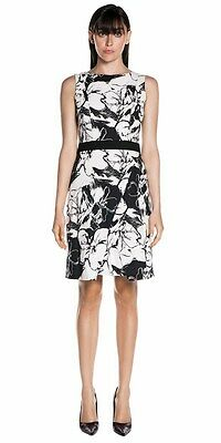CUE Black and White floral dress - Size 10