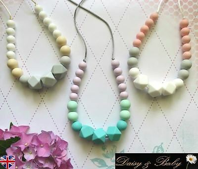 Teething necklace sensory chew baby mum wearing autism BPA free breastfeeding UK