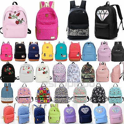 Women's Girl Canvas School Backpack Shoulder Book Bag Travel Rucksack Satchel