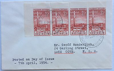 1954 3 1/2d Block Of Four Telegraph Centenary Stamps FDC