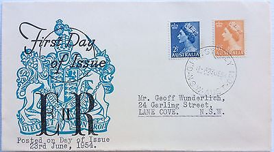 1954 2 1/2d Blue And 6 1/2d Orange QE 2 Stamps FDC