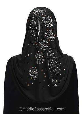 Lycra Amira 1 piece Hijab with Stones #5 Heavenly Flower  Black Scarf from USA