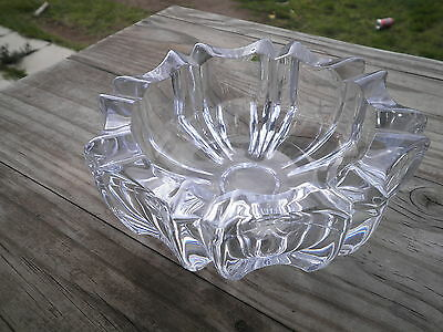 Heavy & thick walled lead glass crystal bowl