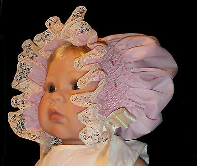 NEW Smocked Baby's Bonnet - Irene _ From Premie to 18 mths