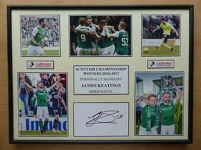 2016-17 James Keatings Signed Hibernian Multi Picture Champions Display (10628)