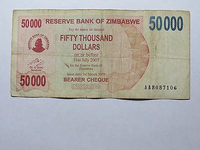 Old Zimbabwe Paper Money Currency - #47 2007 $50,000 Bearer Cheque - Well Circ