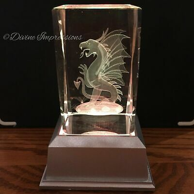 Dragon 3D Laser Crystal Block with LED Base Colour Change Night Light