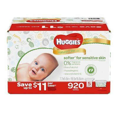 Huggies Natural Care Baby Wipe Refill, Unscented (920 ct.) No Tax, Free Shipping