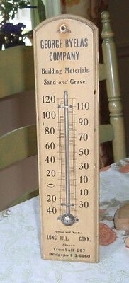 vintage adv. thermometer BYELAS Sand & Gravel LONG HILL Trumbull Connecticut