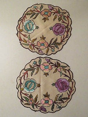 Antique Embroidered Doilies Society Silk Doily Arts and Craft Table Mats Flowers