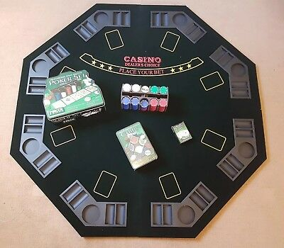 folding poker table top with poker chips and poker cards