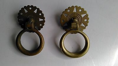Pair Victorian brass cabinet door /drawer ring pulls