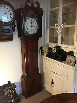 STUNNING FLAME MAHOGANY EIGHT DAY LONGCASE GRANDFATHER CLOCK Circa 1800s