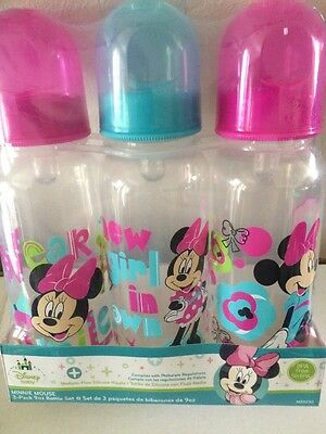 """Disney baby Minnie Mouse """"Wear A Smile"""" 3-Pack Baby Bottles (9. oz) - NEW!"""