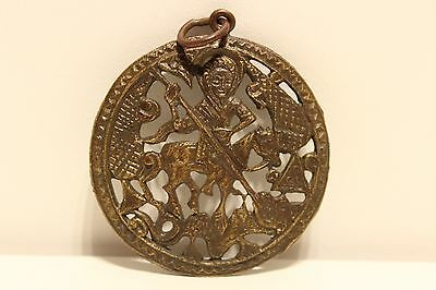 Antique Post Medieval Beautiful Brass Large 53Mm Men's Pendant With Saint George