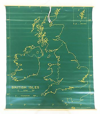 Old Vintage '60's Retro Wall Chart United Kingdom School Map Double Sided