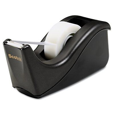 "Scotch Value Desktop Tape Dispenser 1"" Core Black Heavy Duty Weighted Easy Use"