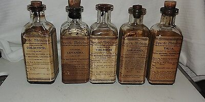5 pieces Apothecary Bottle Lloyd Brothers Pharmacy Pharmaceutical Medicinal Herb