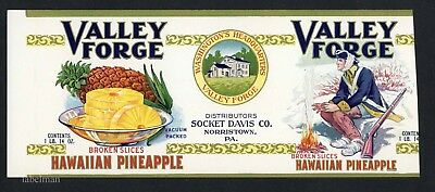 VALLEY FORGE Brand, Norristown *AN ORIGINAL 1920's TIN CAN LABEL** trimmed K24