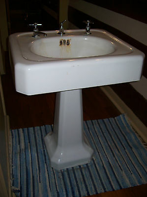 Antique Complete 1930's Cast Iron Porcelain Pedestal Sink