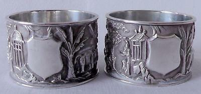 Pair of Large Heavy Chinese Silver Napkin Ring