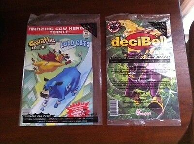 The Adventures deciBell Amazing Cow Hero Comic Book #1 + Swatter & Cold Cuts #6