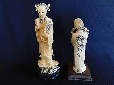 2 Vtg Japanese Carved Scholar  & Dragon Lady Loong  Figurine Statues