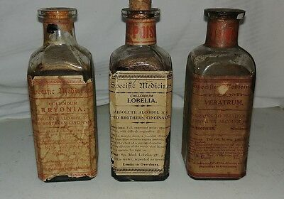 3 pieces Apothecary Bottle Lloyd Brothers Pharmacy Pharmaceutical POISON SKULL