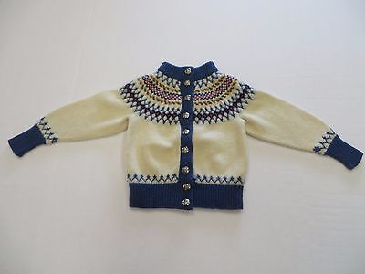 Excellent Vintage Hand Knitted Young Childs Sweater Knud Of Denmark 100% Wool