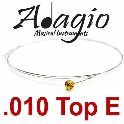 MultiPack Of 5 x Spare .010 Top E Guitar Strings For Acoustic Or Electric Adagio