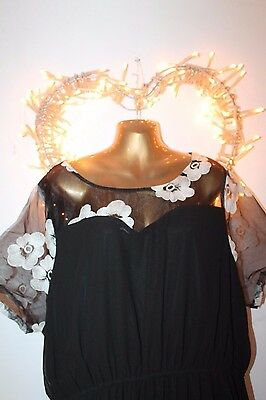 New Black White Embroidered Floral Sheer Top Cocktail Party Holiday Dress 26
