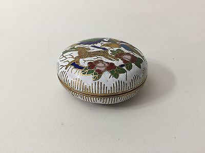 "Vintage Chinese Enamel on Copper Lidded Round Box, 2 1/4"" Diameter x 1"" High"