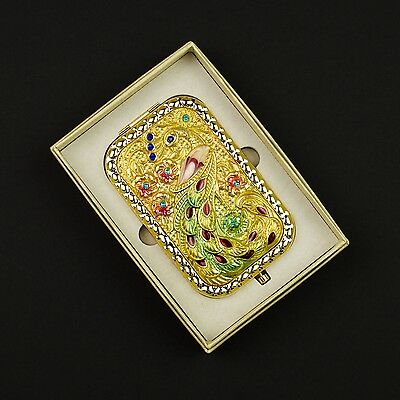 Beautiful ornate peacock 3D folding compact with 1x 3x mirrors #0007