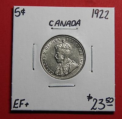 1922 5 Cent Five Canada Nickel Coin J208 - $23.50 EF+
