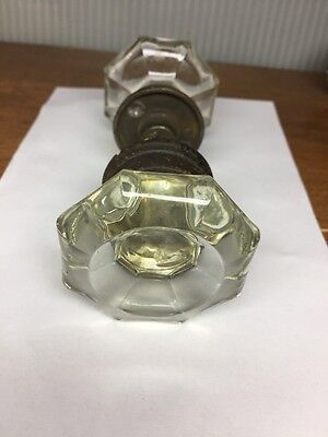 Vintage Set Of Clear Crystal Glass Antique Door Knobs 8 Sided Flat Top W/ Brass
