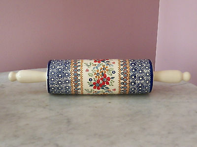 Genuine Hand Made Polish Pottery UNIKAT Rolling Pin! Rembrandt Pattern!