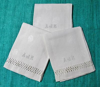 Antique 3 Nubby Linen Towels A J K Monograms Ornate Drawnwork Bands